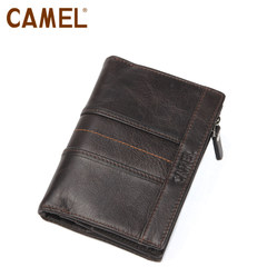 【清仓】Camel/骆驼钱包男士竖款钱包短款钱夹搭扣包包