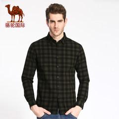 骆驼牌男装 直筒扣领格子衬衫休闲棉质直筒商务衬衣男
