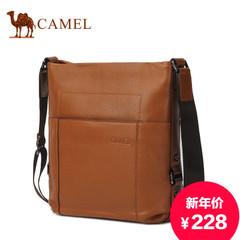 Camel/骆驼正品头层牛皮男士单肩包真皮单肩斜挎包竖款休闲男包包