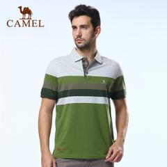 CAMEL骆驼户外男款翻领短袖 男T恤翻领短袖条纹休闲衣 正品