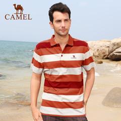骆驼户外男款T恤 春夏款 休闲翻领短袖纯棉条纹短T恤 正品