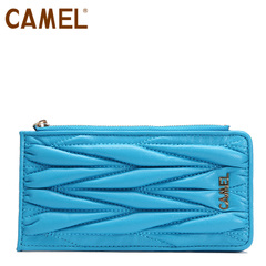 camel骆驼 多功能卡包 女士甜美风褶皱羊皮卡包卡套钱包钱夹