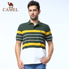 CAMEL骆驼户外男款翻领短T恤 春夏款 撞色条纹休闲短袖 正品