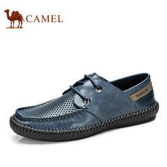 CAMEL骆驼男鞋 真皮男士舒适透气镂空牛皮皮鞋手工缝线鞋