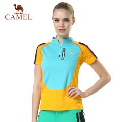 CAMEL骆驼户外速干T恤 女款透气立领短袖T恤速干衣快干正品衣