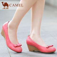 Camel 骆驼女鞋 羊皮圆头浅口坡跟单鞋 舒适夏季女士鞋子休闲鞋