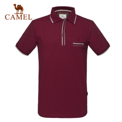 CAMEL骆驼户外男款短袖T恤 春夏舒适翻领透气吸汗短袖T恤 正品