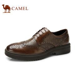 骆驼男鞋 春季英伦布洛克真皮系带男士商务正装皮鞋