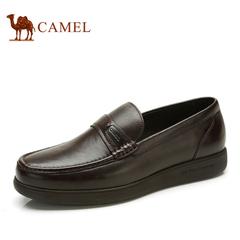 品牌特卖 骆驼男鞋 英伦真皮商务正装皮鞋圆头套脚乐福懒人男皮鞋