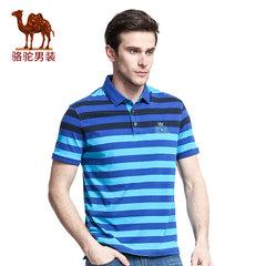 骆驼短袖t恤男夏款polo衫商务休闲翻领大码条纹男士T恤衫