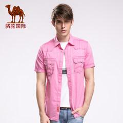 骆驼尖领短袖衬衫商务休闲男士直筒纯色棉质短袖衬衣