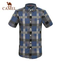 CAMEL骆驼户外休闲衬衣 男款短袖衬衫夏款男士舒适休闲 正品