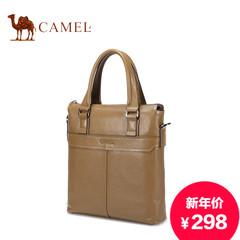Camel/骆驼男包头层牛皮斜挎包商务休闲包男手提包竖款真皮男士包