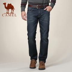 Camel/骆驼男装 秋季潮流男士直筒压皱牛仔裤商务休闲长裤子潮
