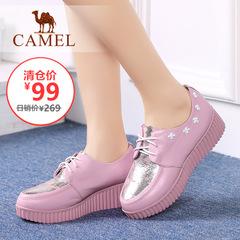 【特价清仓】Camel 骆驼女鞋坡跟时尚休闲系带牛皮日常女士单鞋