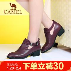 camel骆驼女靴子百搭短靴时装休闲女鞋潮流短筒靴