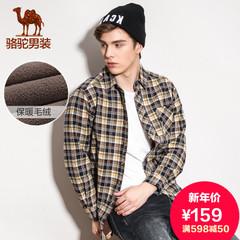 Camel骆驼旗舰店男款春季加绒潮流休闲立领格子休闲长袖衬衫