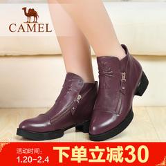 Camel骆驼靴子冬季休女鞋女靴 女士短靴子