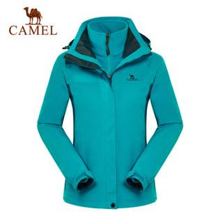 骆驼户外女款冲锋衣 防风保暖两件套 三合一冲锋衣3F30004
