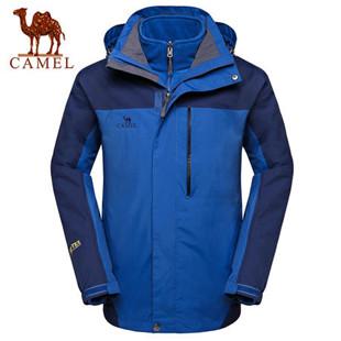 骆驼户外冲锋衣 秋冬男款防水保暖两件套男士两件套冲锋衣