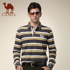 骆驼  秋装男士条纹直筒休闲T恤棉质t恤衬衫领长袖T恤