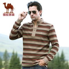 骆驼 秋装男士长袖T恤直筒条纹男商务休闲t恤男士棉质T恤