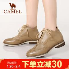Camel 骆驼女靴子英伦平跟羊皮女士短靴子