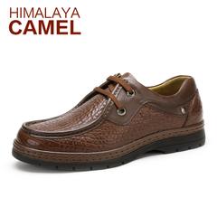 喜马拉雅骆驼男鞋 春季新款 真皮男士商务休闲皮鞋圆头系带潮鞋子