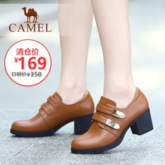 【特价清仓】Camel骆驼女鞋 夏季时尚优雅魔术贴粗跟高跟圆头单鞋