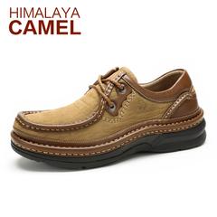 春季喜马拉雅骆驼休闲皮鞋真皮男士商务休闲低帮鞋缓震厚底男鞋子