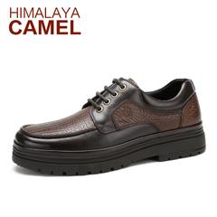 喜马拉雅骆驼 春季新款 英伦真皮男士商务休闲皮鞋圆头厚底男鞋潮