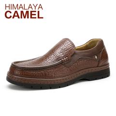 冬季喜马拉雅骆驼休闲皮鞋 真皮流行商务乐福鞋低帮鞋男鞋懒人鞋