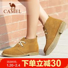 camel骆驼女靴女士靴短筒女鞋棉鞋平跟皮靴短靴