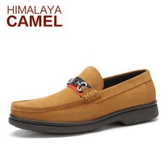 喜马拉雅骆驼男鞋 新款真皮牛皮日常休闲皮鞋时尚套脚乐福男鞋