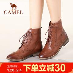 Camel骆驼女靴平跟靴女鞋女靴棉鞋皮靴短靴