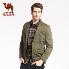 骆驼两粒单排扣休闲便服单西纯色棉质外套棉西服