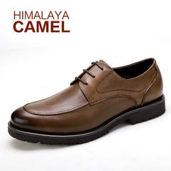 喜马拉雅骆驼 春季新款真皮男士商务正装皮鞋系带圆头高档男鞋子