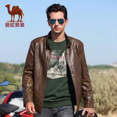 骆驼韩版男士夹克 商务绅士立领短款PU皮皮衣商务休闲外套男