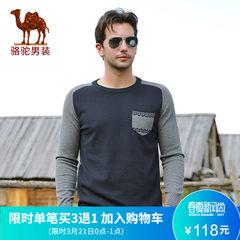 骆驼秋季男装 衣服套头针织衫圆领修身长袖男士毛衣外套秋装毛衫