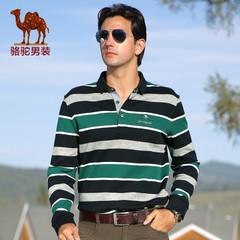 Camel/骆驼男装 秋季潮流绅士商务休闲长袖男士条纹长T恤