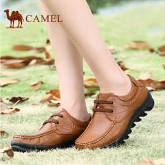 骆驼女鞋 舒适休闲真皮系带女单鞋深口软底妈妈鞋厚底大码鞋