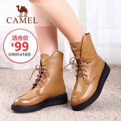 【清仓特价】Camel骆驼女靴系带纯色马丁靴冬季平跟靴中筒靴