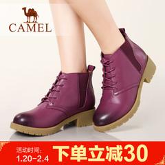 camel骆驼女靴冬季粗跟短筒系带棉鞋休闲靴子短靴
