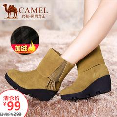 【特价清仓】骆驼女靴热销流苏牛皮中筒靴保暖加绒内里女靴女鞋