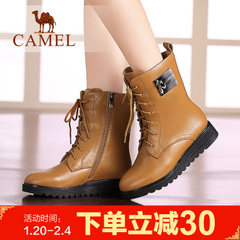 Camel 骆驼女靴时尚短靴潮流靴子皮靴中筒靴时装靴