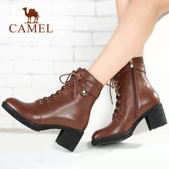 CAMEL骆驼高跟短筒靴女鞋靴潮牛皮粗跟马丁靴 时装靴高跟靴子女