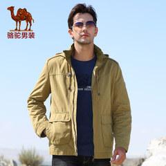 骆驼 秋装男士连帽水洗夹克青年休闲纯色夹克直筒夹克