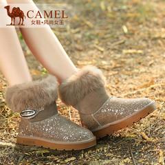 Camel骆驼女靴 时尚舒适 加厚保暖牛猄兔毛翻边雪地靴短靴
