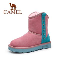 Camel骆驼女靴冬季牛猄铆钉圆头平跟短靴雪地靴