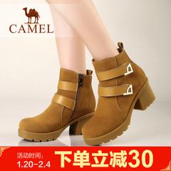 camel骆驼女靴季女鞋粗跟高跟短筒靴棉鞋皮靴